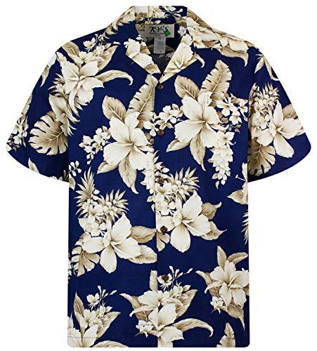 KY's Original Hawaiihemd, Kurzarm, Goldbraune Blume NEU, Blau, XL