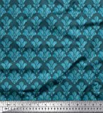 Soimoi Blu Velluto Tessuto palmetta Damasco Tessuto Stampato da Metro 58 Pollici Larghi