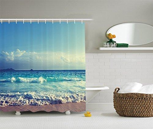 PETGOOD Douchegordijn Decor Collection, Ocean Waves Seychellen strand in zonsondergang vele mooie douchegordijnen beschikbaar, hoge kwaliteit, waterdicht, anti-schimmel effect 180 x 180 cm