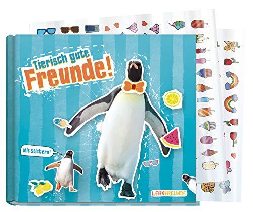 Freundebuch Schule für Jungs und Mädchen [Pinguin] Hardcover Poesiealbum, liebevoll und witzig gestaltet - mit bunten Stickern! von Lernfreunde by Häfft | nachhaltig & klimaneutral