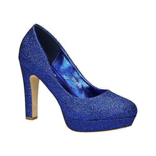 Klassische Damen Glitzer Pumps Stilettos High Heels Plateau Abend Schuhe Bequem 315 (37, Blau)