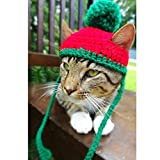 Schnappy Soft Handmade Crochet Knitted Cat Bonnet Hat,Pet Santa Pom-Pom Cap Christmas Gifts for Small Cats Dogs (Red with Green)