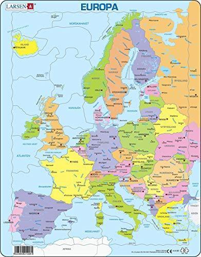 Larsen A8 Mapa político de Europa para los niños más pequeños, edición en Sueco, Puzzle de Marco con 37 Piezas