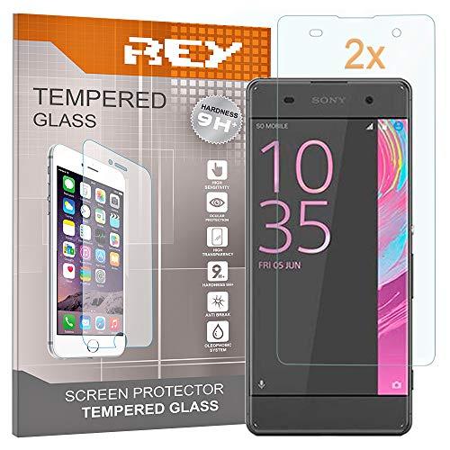 REY 2X Protector de Pantalla 3D para Sony Xperia XA, Transparente, Protección Completa, 3D / 4D / 5D