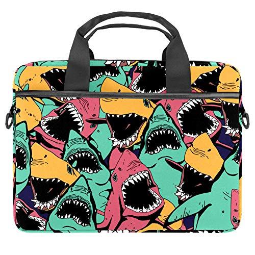 Sea Life Angry Shark Laptop-Tasche, Messenger-Tasche, schmale Aktentasche mit Umhängetasche, Computer-Tasche und Tablet-Tragetasche für 13,4-14,5 Zoll