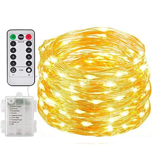 Cadena de luces LED alimentadas con pilas funciona con pilas, 20 LED de 2 m con control remoto de alambre de cobre luces para decoración al aire libre/interior,jardín,festival,boda (blanco cálido)