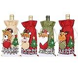 YUIP Cubierta de Botella de Vino de Navidad 4 Piezas Bolsas de Vino Tinto para Vestir Botella de Vino Reutilizables para la Cena del Hogar Decoración de la Fiesta de la Mesa Adornos