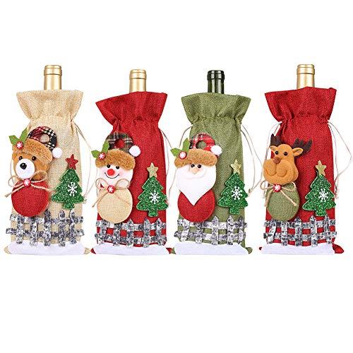 YUIP Flasche Weihnachten Tasche - 4 Stücke Weihnachten Weinflasche Abdeckung Geschenktüten Flaschen Rotwein Taschen - für Whisky Spirituosen Champagner Weihnachtsfeier Dekorationen