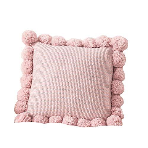 Ancoree Cubierta de Almohada de Rayas de Punto Cuadrado con Borlas Encantadoras, Color Sólido Decorativo Funda de Almohada Cálida y Suave con Bola de Linterna Lindo, 45x45cm (Light Pink)