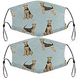 Kindergesicht Ma_sk mit verstellbaren Ohrschlaufen, Airedale Terrier Hundedecke, Haustierdecke, B...