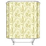 Daesar Polyester-Stoff Duschvorhang Anti-Schimmel Blumen Muster Duschvorhang Polyester-Stoff Vintage 180x180