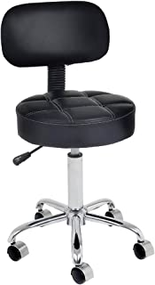 CoVibrant Well Cushioned Adjustable Rolling Stool with Back for Office Desk Home Kitchen Massage Medical Salon Artist
