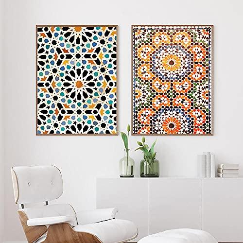 LZASMMVP Arte de Pared marroquí Pintura en Lienzo Carteles e Impresiones orientales Cuadros Decorativos de Estilo Bohemio para la decoración de la Sala de Estar   42x60cmx2 Sin Marco