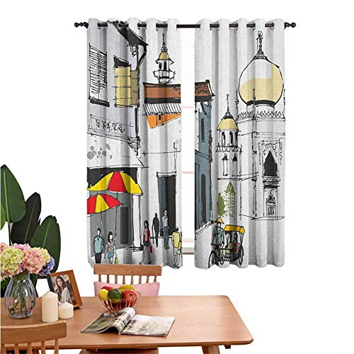 Insulated Solid Grommet top Living Room Curtain Hand Drawn Illustration of Old Singapore Traditional Building People Umbrellas Travel Multicolor Insulation Noise Reduction Set of 2 Panels W55 x L62