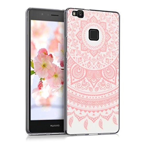 kwmobile Funda Compatible con Huawei P9 Lite - Carcasa de TPU y Sol hindú en Rosa Claro/Blanco