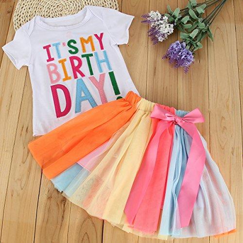 puseky Toddler Baby Girls It's My Birthday T-Shirt+Rainbow Mesh Tutu Skirt Outfit Set