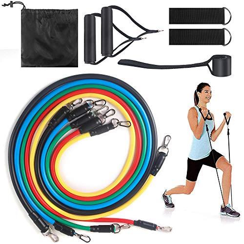 SHYSBV Schlingentrainer Muskeltrainingsgürtel 11-Teiliges Tragezugseil-Krafttrainingsset Für Elastische Seile-01