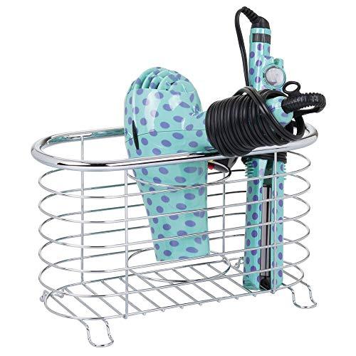 mDesign Soporte para secador de Pelo sin Taladro – Práctico Organizador de baño en cesto de Rejilla – Estante multifunción para secador, rizador eléctrico y Plancha – Plateado