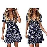 Vestido corto de verano para mujer, de lunares, de manga corta, cuello en V, de color liso, de verano, turquesa, XL