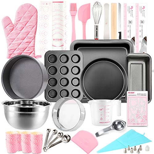 Morfakit Complete Cake Baking Set Bakery Tools for Beginner Adults Baking sheets bakeware sets baking tools Best Gift Idea for Boys and Girls, Black