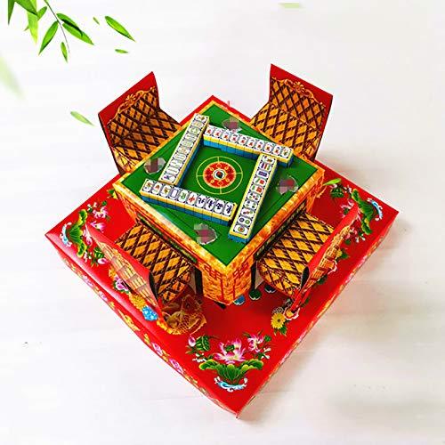 SHPEHP Mahjong-Tisch - Mahjong-Tisch der Ahnen, Ritualzubehör, Beerdigung, Qingming-Festival und Hunger Festival's Höllenopfer -23 * 23 * 12cm-A