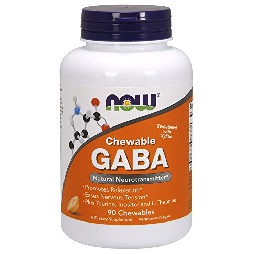 NOW Supplements, GABA (Gamma-Aminobutyric Acid), Neurotransmitter Support*, Orange Flavor, 90 Chewables