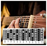 2 Pack Guitar Fretboard Stickers Vinyl Fingerboard Decals Frets Map Neck Notes Trainer for Beginner Learner Practice Music Theory 6 Strings Acoustic Electric Guitars (Black and White)