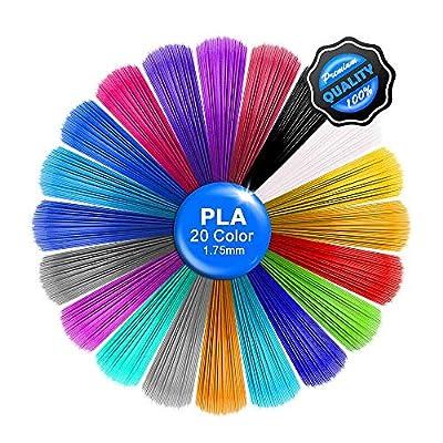 Sinzau 16.5 Feet Each - Total 330 Feet, 3D Pen Filament Refills PLA, Laufen 3D Printing Pen Filament 1.75mm (20 Colors)