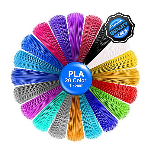 Sinzau 16,5 pies por pieza – Total 330 pies, lápiz 3D Filament Minas PLA, Correr, impresión 3D, filamento, 1,75 mm, 20 colores (desechables)