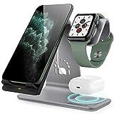 Bestand Qi Carregador sem fio, Suporte para carregador sem fio 3 em 1 compatível com Airpods / iPhone X / Xs / Xs Max / XR / 8 Plus / 8 / Samsung Galaxy S10 / S9 / S9 +, Suporte de alumínio para Apple Watch (cinza)