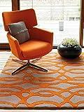 Benuta Alfombra de Lana Matrix Wire Orange 120 x 170 cm/Alfombra de Fibra Natural para salón y Dormitorio