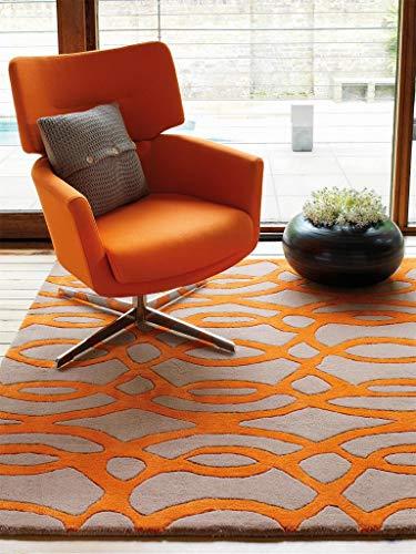 Benuta Wollteppich Matrix Wire Orange 120x170 cm/Naturfaserteppich für Wohnzimmer und Schlafzimmer