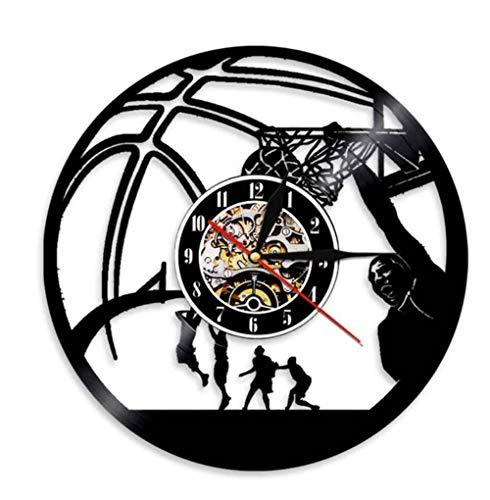 Mzjiaqir Basketball Player Clock Schallplatte Wanduhr Basketball Jump Slam Dunk Shot Sport Decor