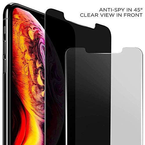 """ANTOGOO CD320WG HD Privacy Screen Protector Compatible with Apple iPhone Xs Max, Updated Version 6.5"""", Anti-Spy Tempered Glass Film, 2-Pack, 320 Discs, Black"""