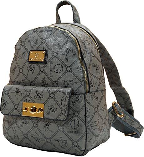 Giulia Pieralli Damen Mädchen Designer Kleiner Modischer Rucksack Citytasche Bag Wander Schultertasche Student Daypack (Grau)