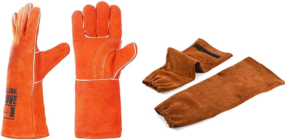 Leather Welding gloves + HeatFlame At the price Cheap sale of surprise Resistant Ar Sleeves