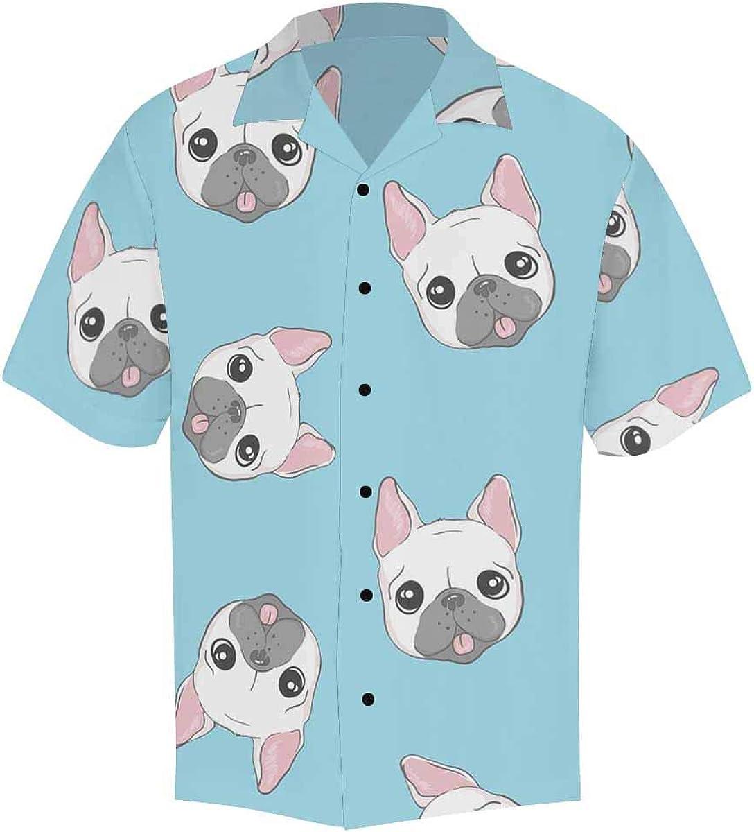 InterestPrint Men's Casual Button Down Short Sleeve Lettering Meow Cat Hawaiian Shirt (S-5XL)
