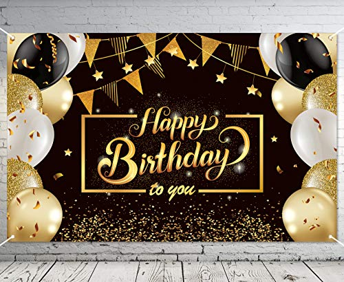 Ouddy Happy Birthday Banner Backdrop, Black Gold Theme Happy Birthday Decorations for Men Women Anniversary Party Background Decor Supplies 4 x 6 Ft