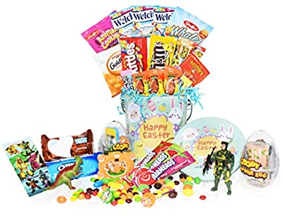 Easter Snack Gift Tin Basket - Easter Candy, Gummy, Eggs with Toys, Easter Chocolates - Great Easter Care Package for Family, Friends, Kids, Coworkers - Green Tin (Boys)