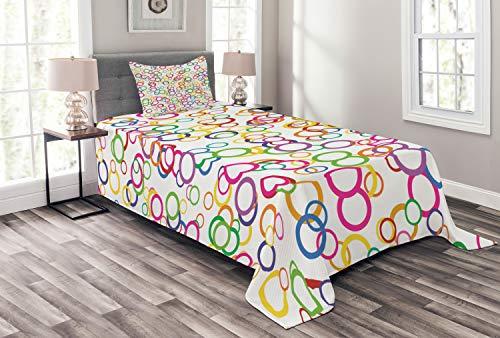 ABAKUHAUS Regenbogen Tagesdecke Set, Farbige geometrische Kreis, Set mit Kissenbezug Maschienenwaschbar, für Einzelbetten 170 x 220 cm, Lavendel Lachs Gelb Rosa