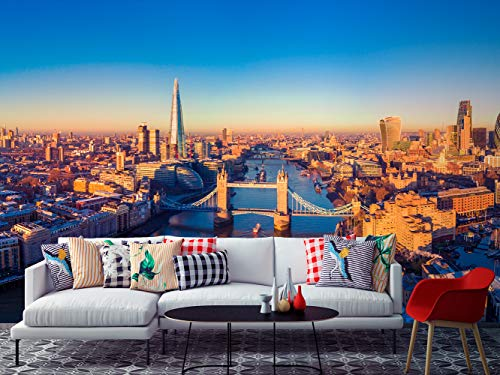 Fotomural Vinilo para Pared Panorámica de Londres y Río Tamésis | Fotomural para Paredes | Mural | Vinilo Decorativo | Varias Medidas 500 x 300 cm | Decoración comedores, Salones, Habitaciones.