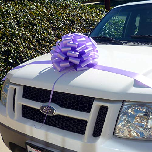 Large Lavender Car Bow, 16' Wide - Front Door Decoration, Mother's Day, Wedding, Easter, Christmas, Gift Basket, Presents, Spring, Office, Classroom, Baby Shower, Birthday