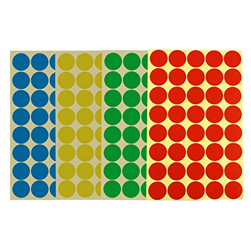 1152 Pieces 1 Inch/25mm Round Dot Stickers Color Coding Labels Circle Adhesive Stickers 4' X 6' Sheet(Multicolored-Red, Blue, Yellow, Green)