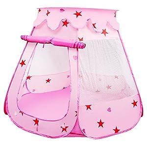 LEADSTAR Tienda de Campaña Infantil con Bolsa Casita de Tela para Jugar Piscina de Bolas Castillo para Interior y Exterior (Rosado)