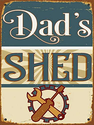 Nostalgic-Art Retro Tin Sign Dad'S Shed Metal Sign Vintage Bar Home Kitchen Cave Coffee Shop Wall Decoration Sign (20x30cm)
