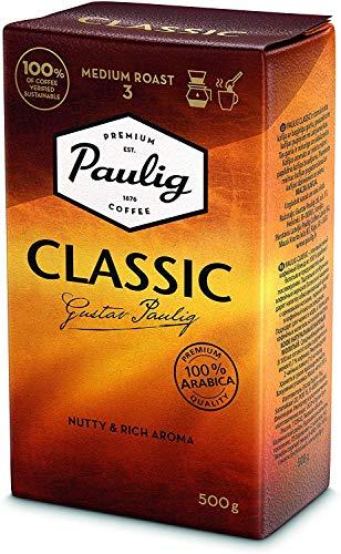 Paulig Klassisch Kaffee Gemahlen – Meister Mischung aus 100% Arabica-Bohnen - Vollmundige Röstung Stufe 3 - Perfekte Aromabalance- Premium Qualität im 500 g Beutel