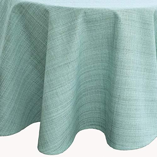 Kamaca Nappe d'extérieur pour table de jardin - La couverture textile parfaite pour l'intérieur et l'extérieur - Résistante aux taches et aux intempéries - Infroissable (menthe - chinée, nappe ronde de 145 cm)