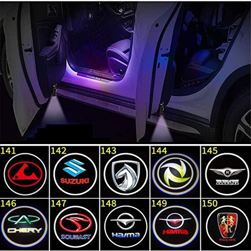 4Pcs Autotür Offene Türschildleuchte Led Logo Projektor Licht,Türbeleuchtung Willkommen Einstiegsbeleuchtung,Universal Drahtlose Wireless Magnetisch Sensor Schatten Logo Licht für Autotür,142