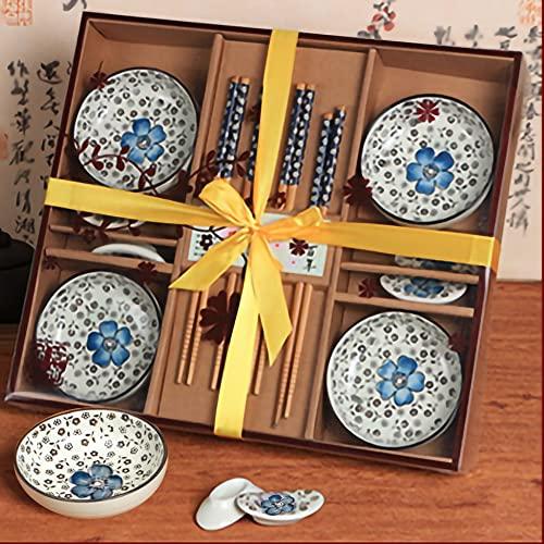 Dätenky - Set di posate in ceramica per sushi, per 4 persone, con supporto per bacchette...