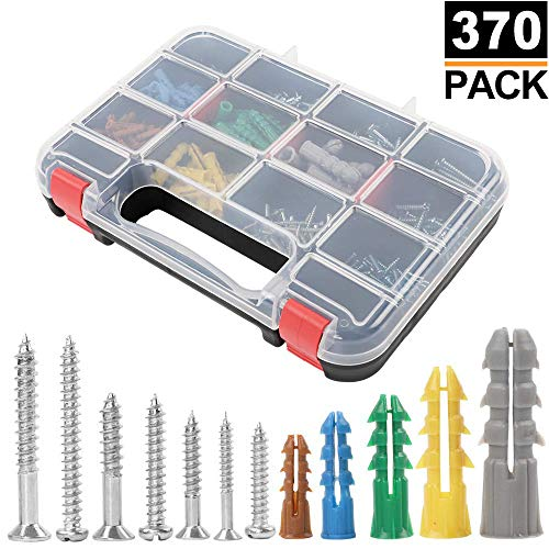 HongWay 370pcs Plastic Ribbed Drywall Anchor Kit with Screws, Includes 5 Different Size Anchors and Screws